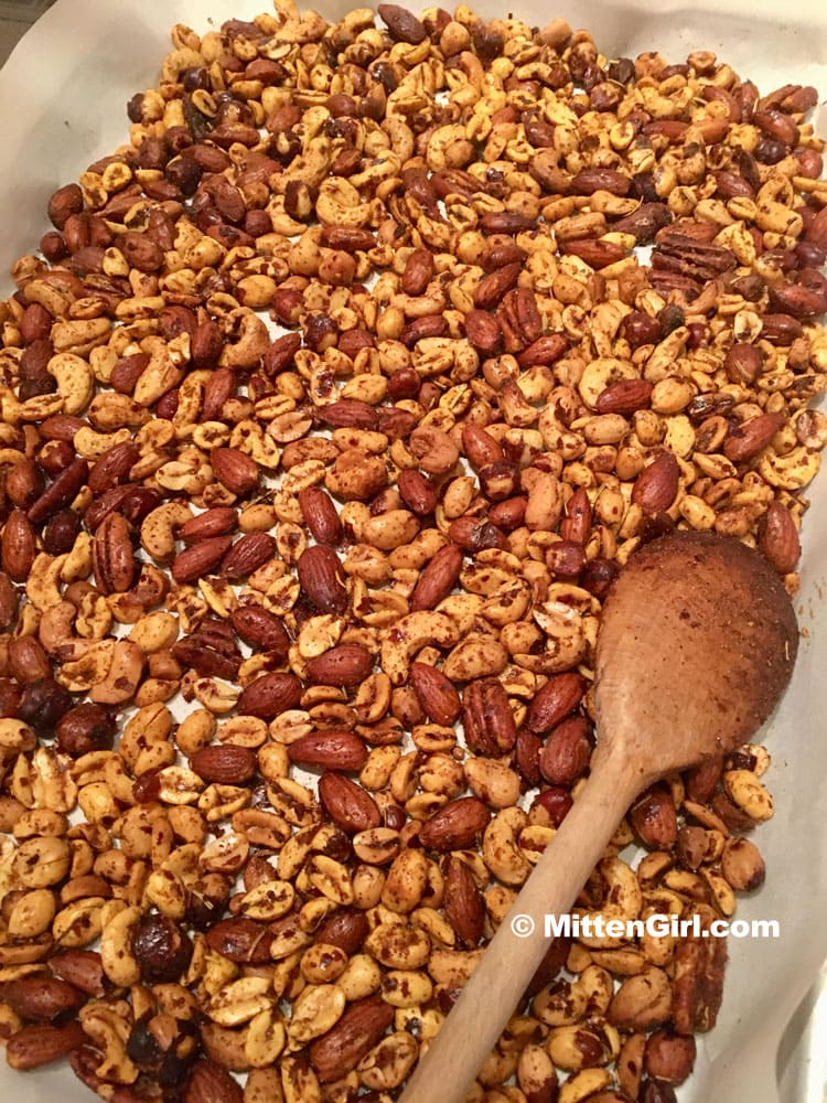 Nuts cooling after cooking in the slow cooker