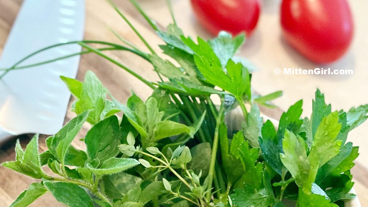 Herbs and tomatoes for meal prep