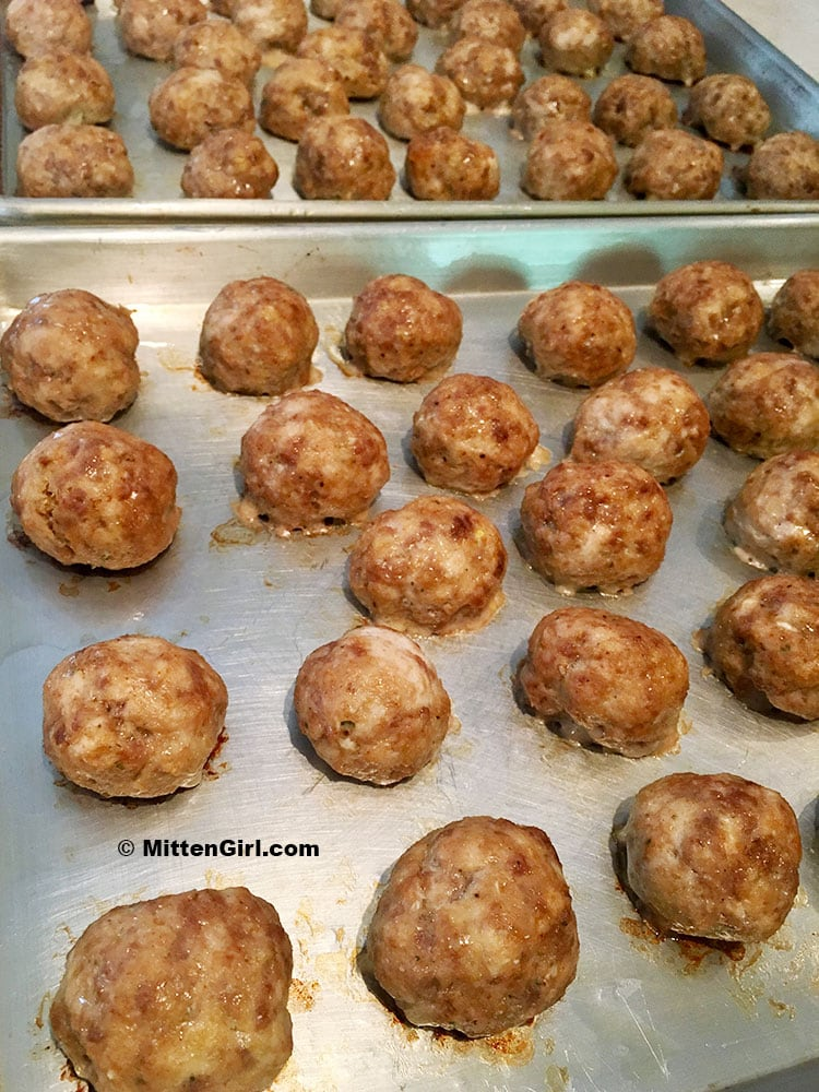 Meatballs fresh from the oven