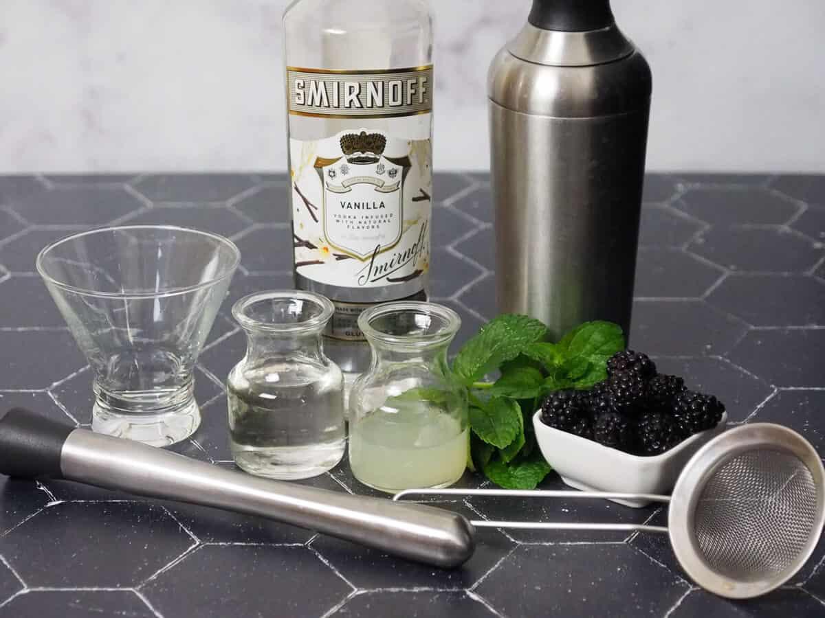 Ingredients for blackberry vanilla martinis