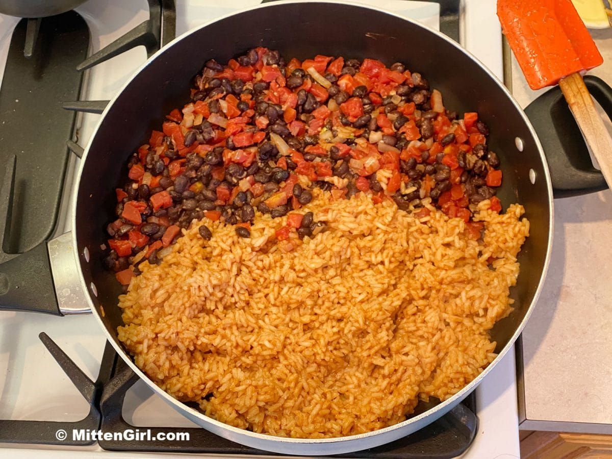 Tomatoes, beans and rice in a skillet