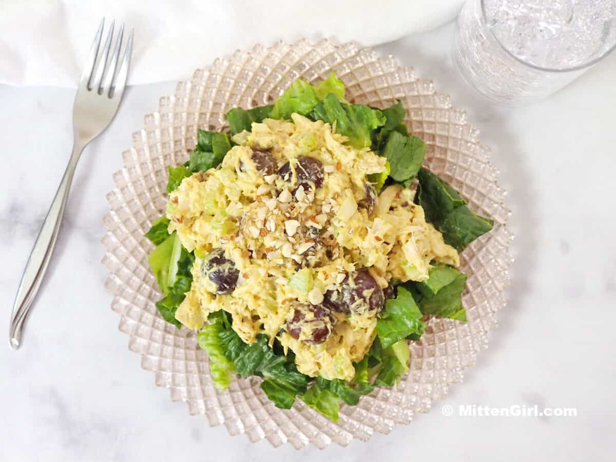 Curry Chicken Salad on a bed of lettuce