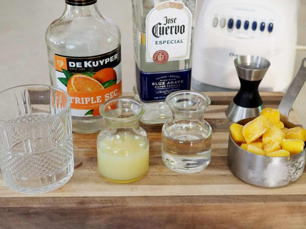 Ingredients for frozen mango margaritas