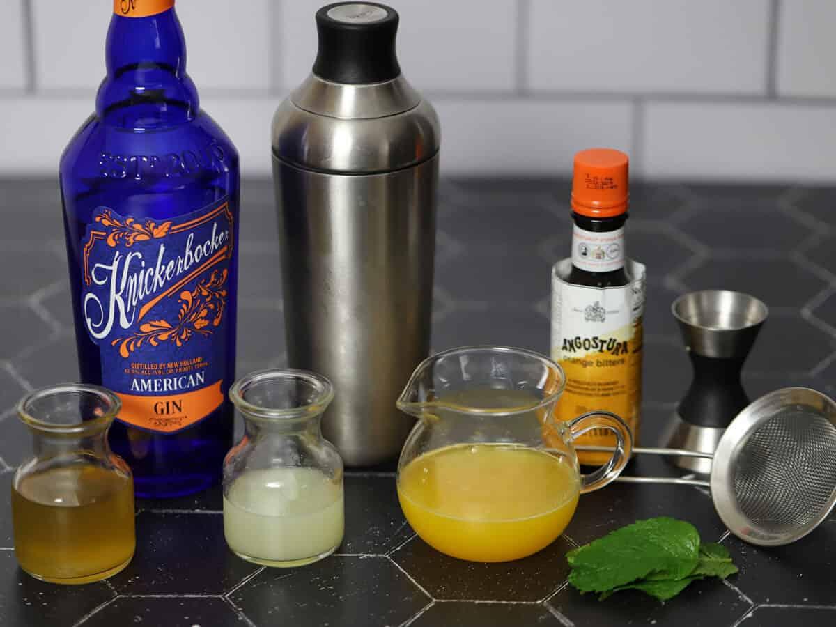Ingredients for honey orange gin cocktails