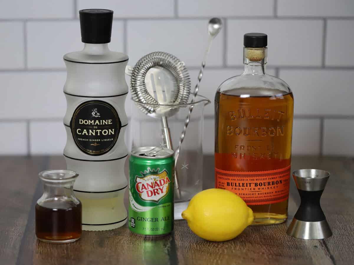Ingredients for bourbon ginger cocktails