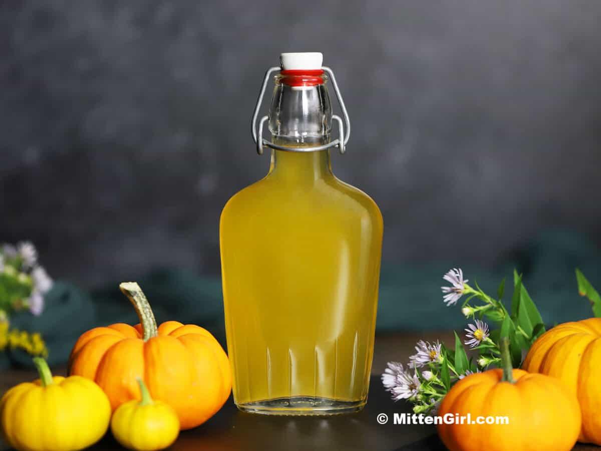 A bottle of pumpkin infused vodka